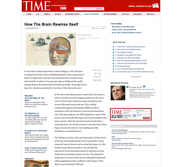 Time example -- Website. Content displayed in image is Copyright 2007 by Time Magazine. Display of this image is considered fair use by the non-profit Charter Vision.