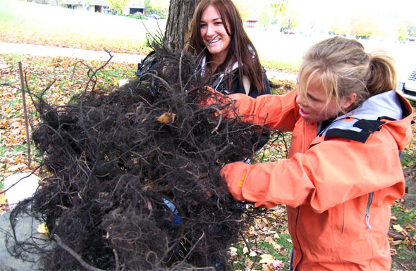 Students creating a Buckthorn head